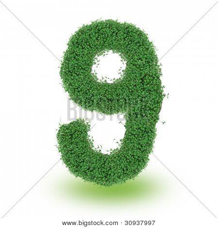 Green alphabet number over white