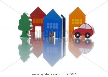 Houses, Car And Tree