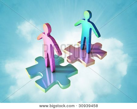 Male and female icon on top ot two perfectly matching puzzle pieces. Digital illustration.