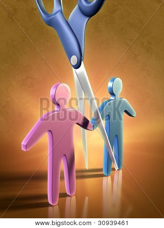 Two people icons being separated by a pair of scissors. Digital illustration.