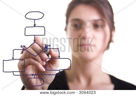 Woman Drawing A Flowchart