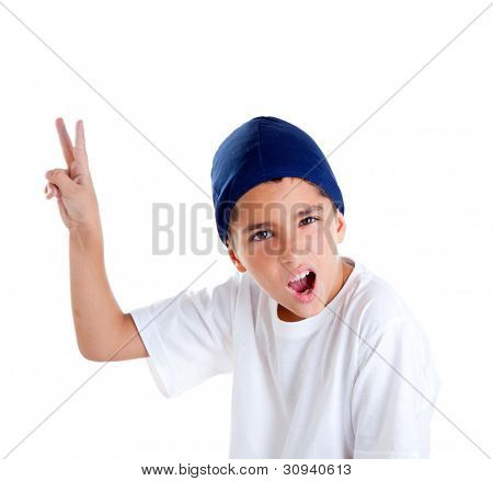 blue cap kid boy with victory hand gesture portrait isolated on white
