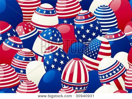 Seamless background of Easter eggs with american  flag