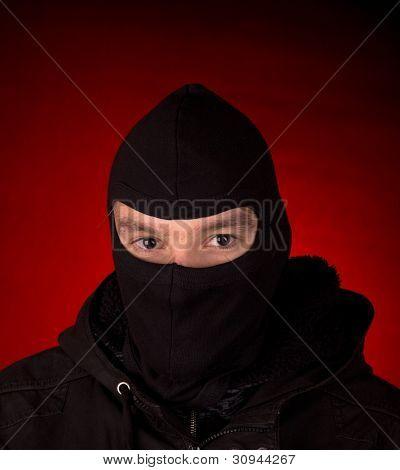 burglar with black cowl