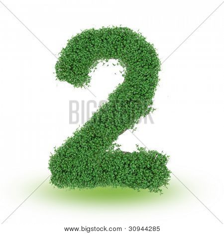 Green alphabet number over white