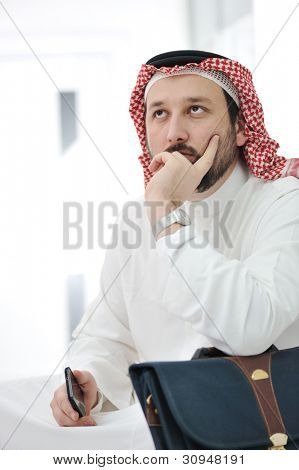 Portrait of worried arabic businessman