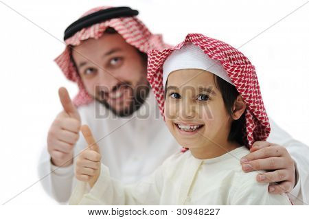 Happy father and son with thumb up