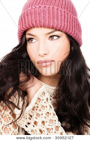 Young Black Hair Girl In Wool Sweater And Cap