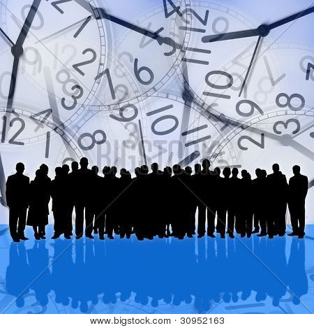 several clocks background and business people silhouette