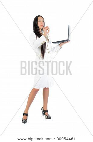 Business woman with laptop in the full-length