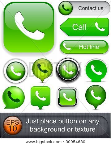 Phone green design elements for website or app. Vector eps10.