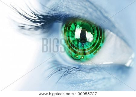 eye iris and green  electronic circuit