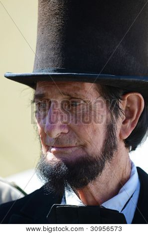 VISTA, CA - MARCH 10: An Abraham Lincoln look-alike participates in a Civil War Reenactment honoring the war (1861-1865) on March 10th, 2012 in Vista, California.