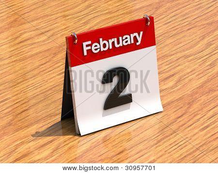 Calendar On Desk - February 2Nd
