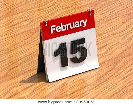 Calendar On Desk - February 15Th