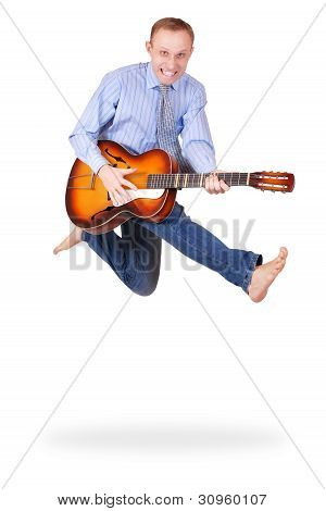 Expressive Jumping Man With Guitar