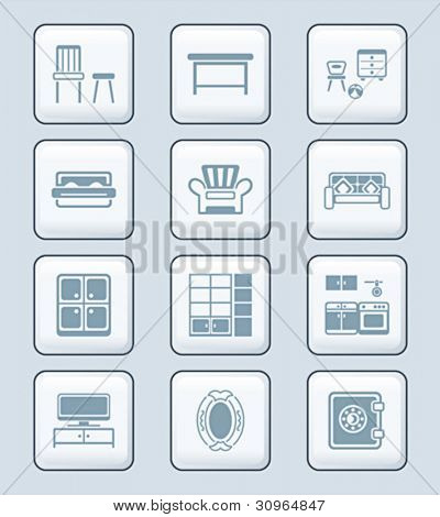 Modern home furniture gray icon-set
