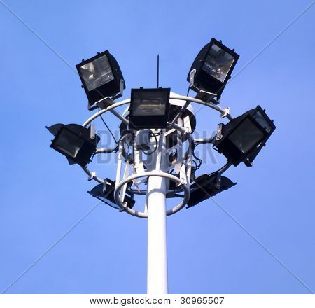 Ground Light Pole On Blusky Background