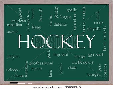 Hockey Word Cloud Concept On A Blackboard
