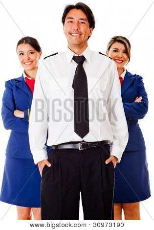 Airplane cabin crew with pilot and air hostesses - isolated over white