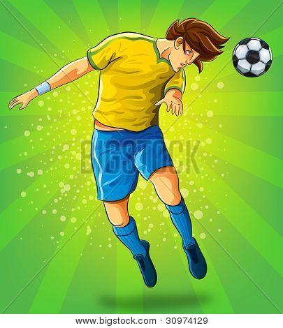 Soccer Player Head Shooting a Ball