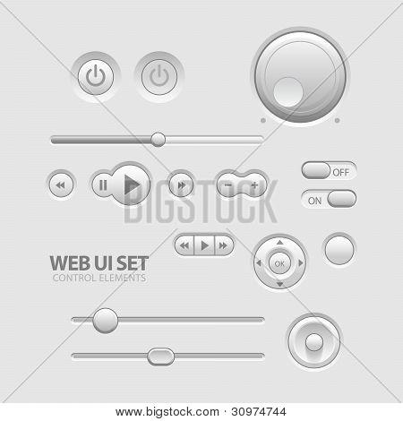 Luz Web UI elementos diseño gris.