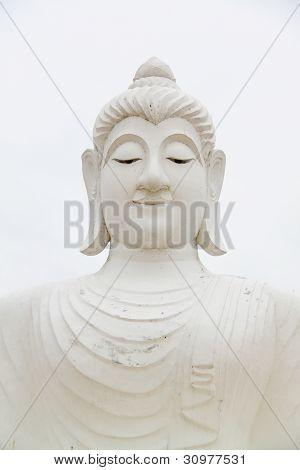 Big White Buddha Image Statue At Ubonratchathani Thailand