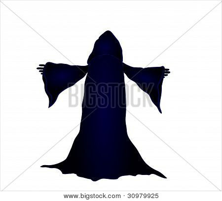 silhouette vector illustration of a wizard