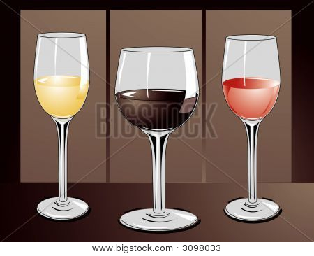 3 Glasses Of Wine.Eps
