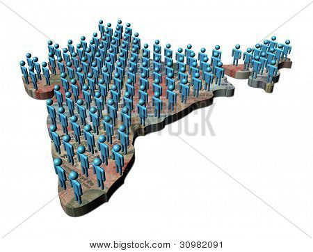 Rows of abstract people on India map rupees illustration