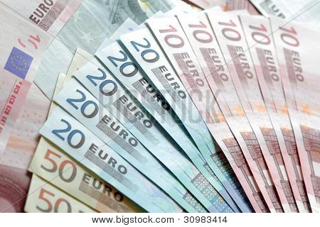 European banknotes fan