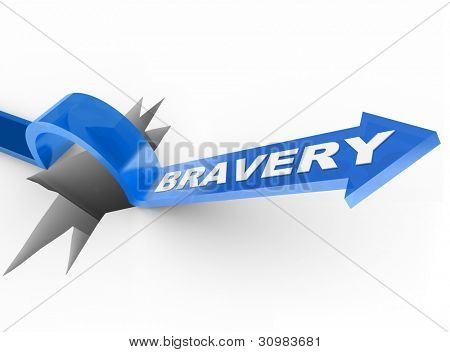 The word Bravery on a blue arrow jumping over a hole symbolizing the survival instinct and being brave and courageous to beat and overcome an obstacle