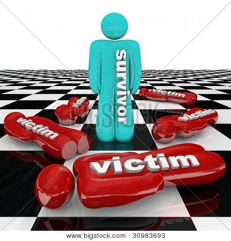 One person stands marked with the word Survivor surrounded by many other people marked Victim, representing victims of change or bad circumstance