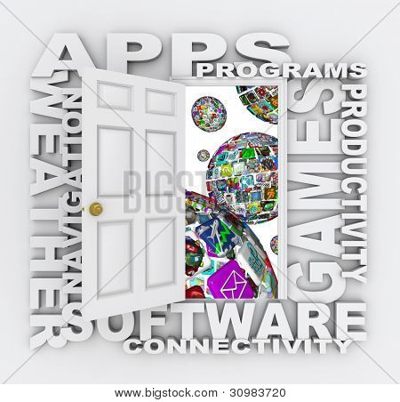 A door opens to reveal many words of apps - spheres made up of application icons and tiles for downloading to a smart phone, tablet computer or other mobile device