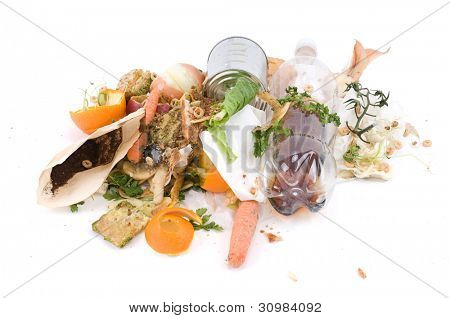 Assortment of kitchen waste waiting to be composted isolated over white background