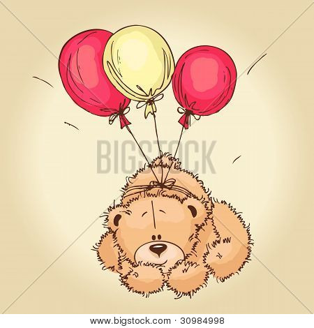 teddy bear and balloons