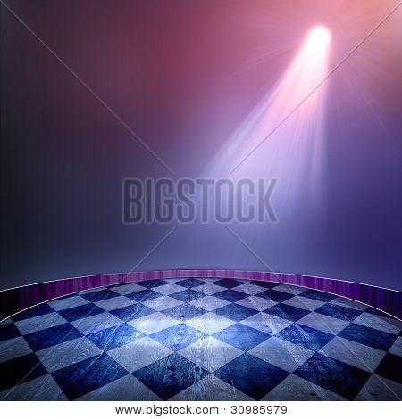 Spotlight Single Blue On Smog Background