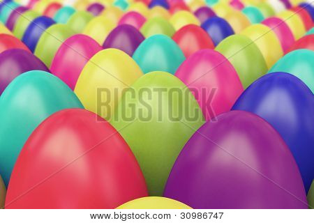 A lot of colorful Easter eggs
