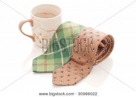 Green And Brown Tie With Coffee Mug