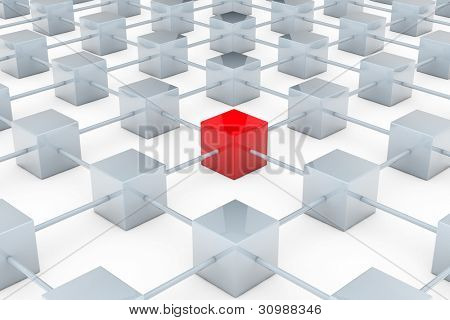 Network of many gray cubes with red one in the middle
