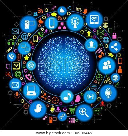 social media, comunicación en las redes informáticas mundiales.Archivo se guardará en versión AI10 EPS. Esto