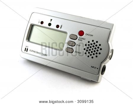 Silver Digital Guitar Tuner On White Background