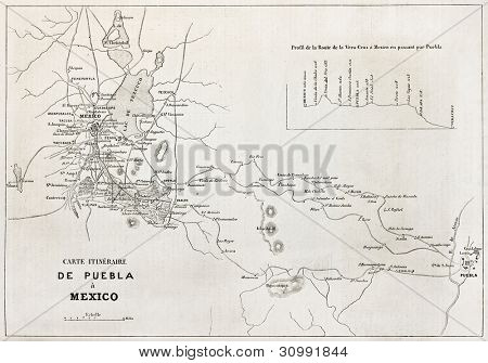 Old map of the road from Puebla to Mexico city. Created by Gillot, published on L'Illustration, Journal Universel, Paris, 1863