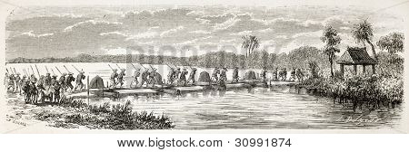 French soldiers crossing river on a boat bridge (Cochinchina campaign). Created by Gaildrau, published on L'Illustration, Journal Universel, Paris, 1863