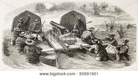 French soldiers carrying a cannon on two paired boats  (Cochinchina campaign). Created by Worms, published on L'Illustration, Journal Universel, Paris, 1863