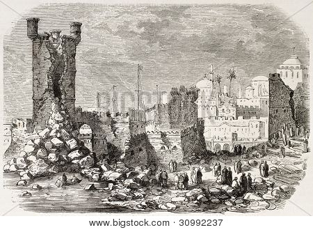Earthquake in Rhodes old illustration (Tower of Saint-Nicholas damaged). Created by Gaildrau, published on L'Illustration, Paris, 1863