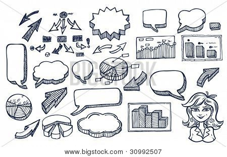 Hand drawn arrows and speech bubbles illustration set 2