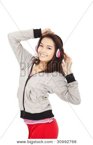 Young Woman Listen Music And Dancing