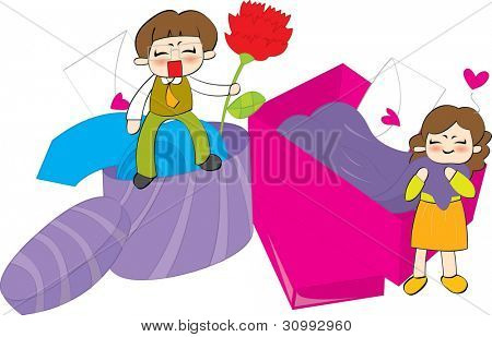 Cute Smiling Young Boy and Happy Woman with presents on white background