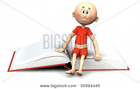 Little toon guy sitting on a book.